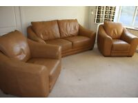 Tan leather 3pce suite, good condition