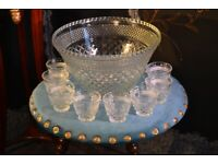 Vintage glass punch bowl with matching cups