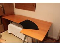 LARGE CURVED STUDY TABLE WITH FAUX LEATHER PROTECTOR VERY GOOD CONDITION