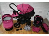 Pink Venicci Mini pram and car seat travel system 3 in 1 CAN POST