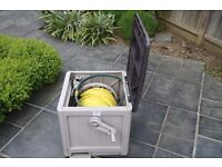 Garden Hose Storage Reel Box with 200ft Hozelock pipe and 4 watering planter boxes included