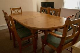 Pine Dining table with six chairs