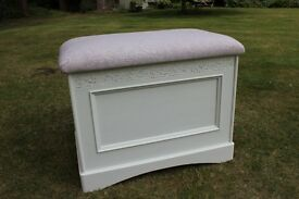 Hand painted & upholstered blanket box with Laura Ashley fabric