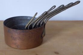 Set of Six 'Untouched' Vintage Copper Saucepans. Believe of French origin. Ideal for display.