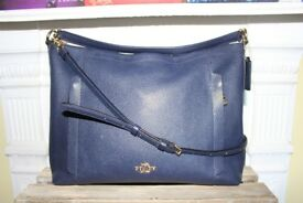 Coach Bag Hobo Scout Navy Dark Blue Crossbody Pebbled Leather Purse Shoulder Bag Designer