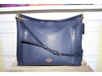 Coach Bag Hobo Scout Navy Dark Blue Crossbody Pebbled Leather Purse Shoulder Bag Designer