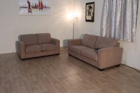 Ex-display Dante beige fabric 2.5 seater sofa and 2 seater sofa bed