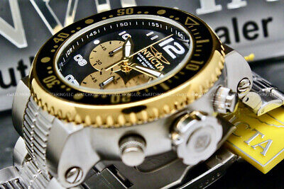 "New Invicta Men's 52mm Pro Diver ""COMBAT SEAL"" Black/Gold Dial Chrono S.S Watch"