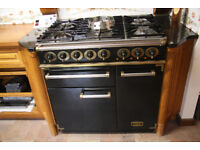 Christmas Special. Falcon 90cm Dual Fuel Range Cooker Black with Brass trim (New ex Display)