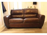 Brown Leather Sofas (2 and 3 seater set).