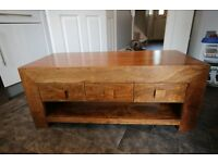 Chicago 3 Drawer Coffee Table - Solid Mango Wood