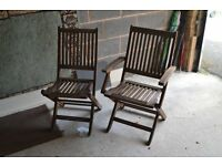 5 wooden garden chairs