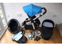 Icandy Apple 2 Pear travel system pram with car seat 3 in 1 - blue *can post*