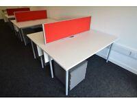 6 x white office desks, 3 red dividers and 6 Storage Pedestals