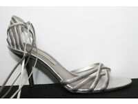 Dune Silver Lace Wrap Round Leg Strappy Sandals Size 4/37