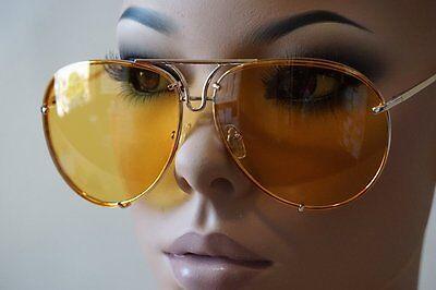 Men Women CLASSIC VINTAGE RETRO AVIATOR Style SUN GLASSES Gold Frame Yellow Lens