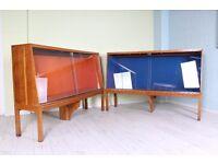 2 LARGE 6 FT VINTAGE DISPLAY CABINETS GLASS SLIDING DOORS - UK WIDE DELIVERY