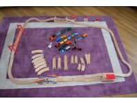 Wooden Train Set With Battery Operated Trains