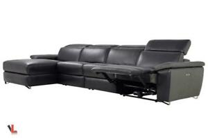 FREE Delivery in Montreal! Aura Leather Power Reclining Large Sectional with Left Facing Chaise!