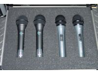 Set of Four Dynamic Microphones. Two x Sennheiser Evolution E-818-S and Two x AKG D-880