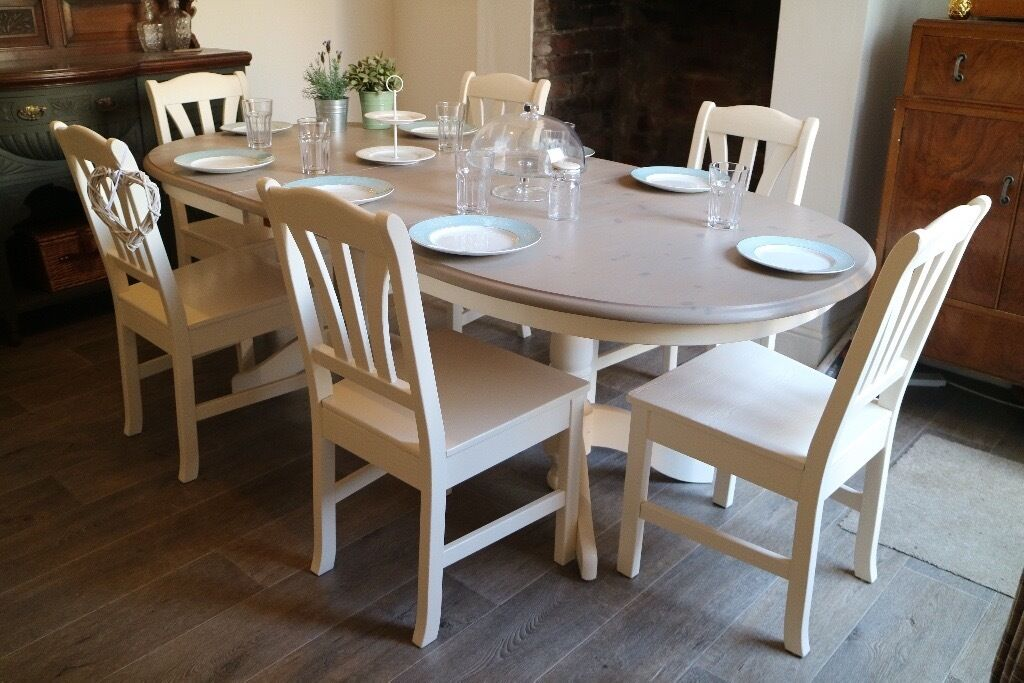 Farmhouse Extendable Dining Table And 6 Chairs, Shabby