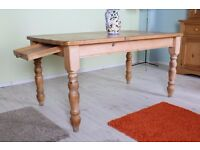 5 FT RUSTIC PINE FARMHOUSE KITCHEN TABLE WITH DRAWER - CAN COURIER