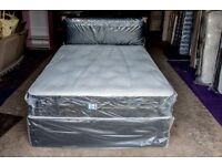 Brand New and Wrapped Delux Deep Tufted Double Divan Set incl Mattress and Faux Leather headboard.
