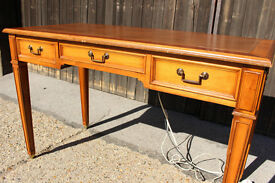 Writing Table Desk with Leather Top and Power Sockets