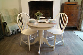 Shabby Chic Bistro Table and 2 Chairs. Round Dining Table and Two Chairs