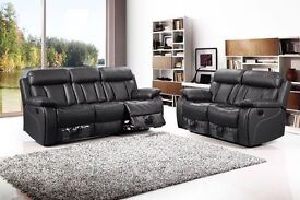 *~*~*VANCOUVER BLACK NEW LEATHER RECLINER SOFAS*~*~*