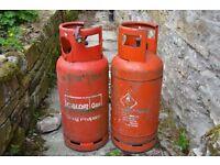 Two empty Calor Gas bottles