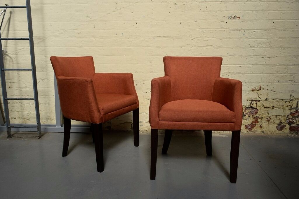 Burnt Orange Fabric Feature Chair Upholstered Armchair Tall Wood Legs