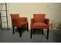 Burnt Orange Fabric Feature Chair - Upholstered Armchair - Tall Wood Legs