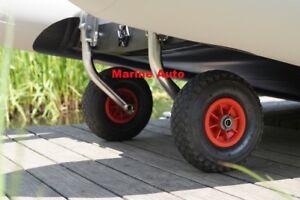 Launching Wheels Boat Inflatable Dinghy RIB foldable transom wheels Video inside