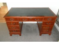 Pedestal regency office desk with green leather top