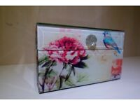 Floral glass finish jewellery box