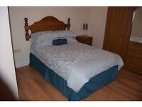 """Double divan bed, """"Easy Rest"""", firm excellent quality mattress w/- wooden headboard, 4ft 6in"""