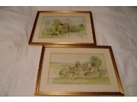 """TWO CHARMING FRAMED """"RURAL"""" WATERCOLOUR PAINTINGS"""
