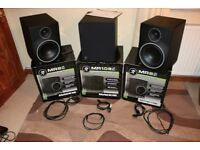 Mackie MR8mk3 Active Studio Monitor Speakers 8 Inch Pair with matching MR10mk3 Active Sub