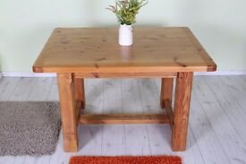 SOLID OAK H FRAME TABLE - can courier
