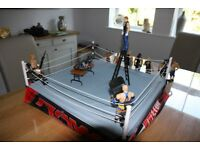 Toy WWE wrestlers and ring plus table, chairs and ladder.