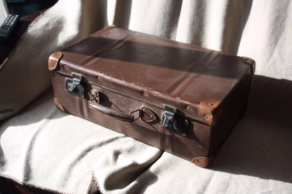 Vintage dark brown hard leather suitcase. | in Woking, Surrey ...