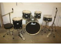 Pearl Forum FZ Series Black Full 5 Piece Drum Kit (22in Bass) + All Stands + Stool + Cymbal Set