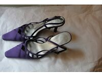 Debut - Purple Satin Sling Back Shoes–Size 5/38