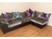 STUNNING DFS CRUSHED VELVET CORNER SOFA PLUS CUDDLE CHAIR,FOOTSTOOL COST £2,197