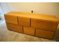 Habitat 6 Drawer Chest - Solid Oak - Great quality - RRP £636.00 - W135 x H53 x D38cm.