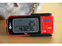 Pedometer and activity tracker, tracks steps, distance and burned calories.