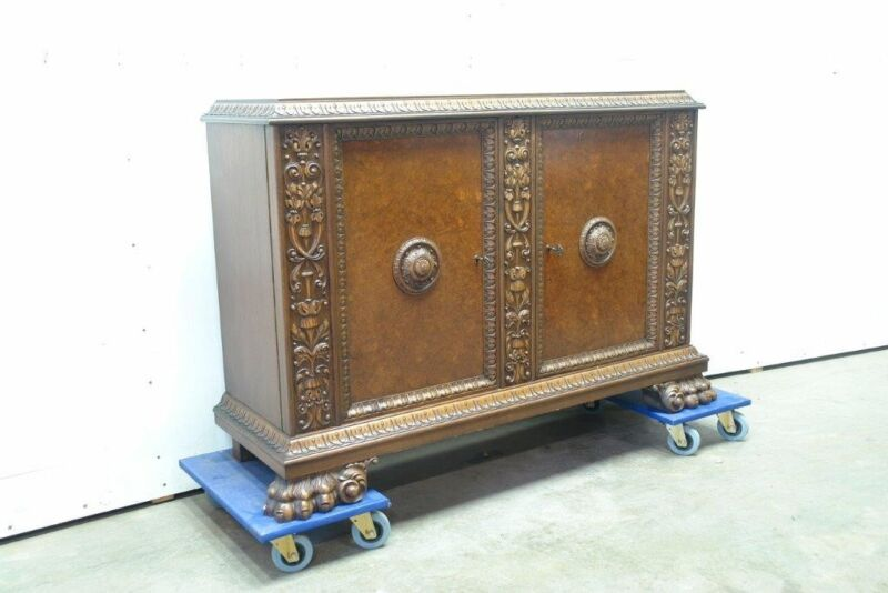 Large German Antique Claw Paw Foot Sideboard Cabinet Console
