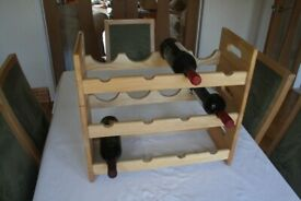 Wooden Wine Rack for 12 Bottles W51xD21xH45 cm Solid Wood Freestanding