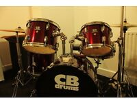 Drum kit for sale with stands, cymbals and drum pads plus double bass drum pedal